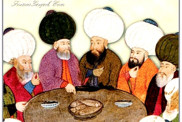 Evliya Çelebi, cinând cu prietenii