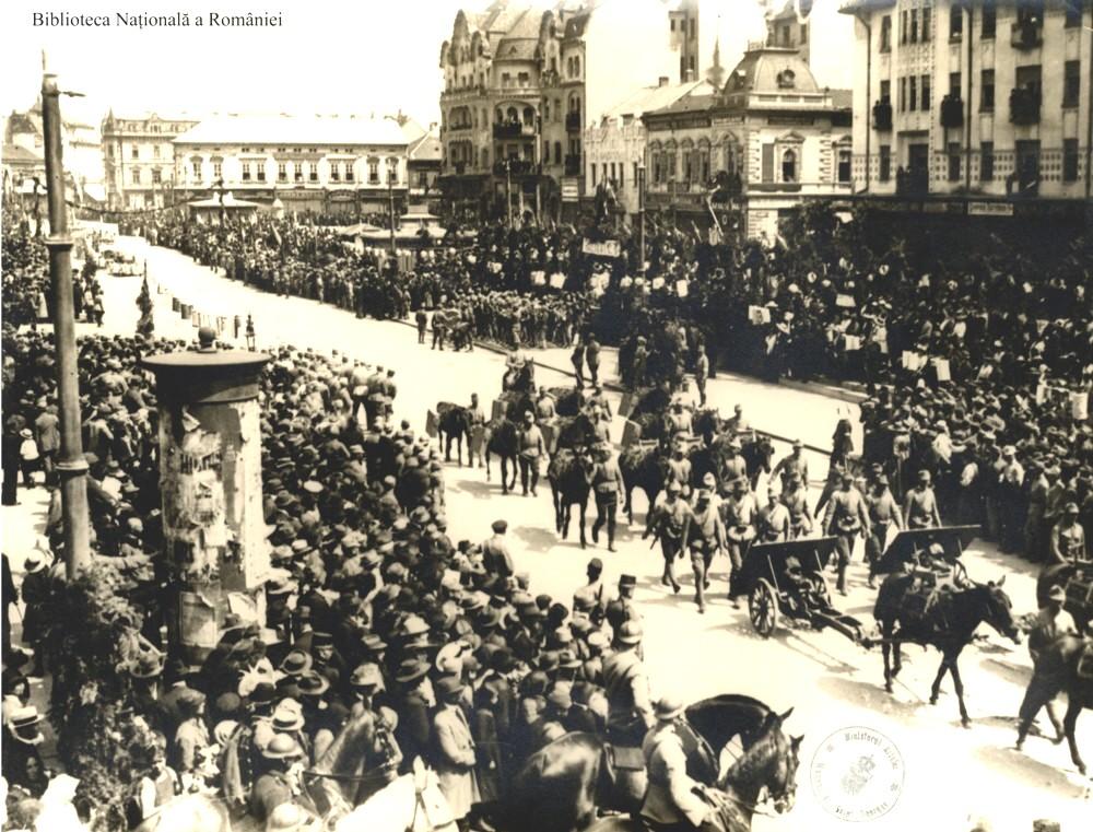 Defilarea trupelor române în Kolomea - Biblioteca Naţională a României