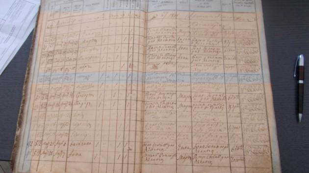 Pagina Condicii Parohiale din Călineştii lui Kuparenko, în care este înregistrată naşterea lui George Eminovici, tatăl poetului Mihai Eminescu