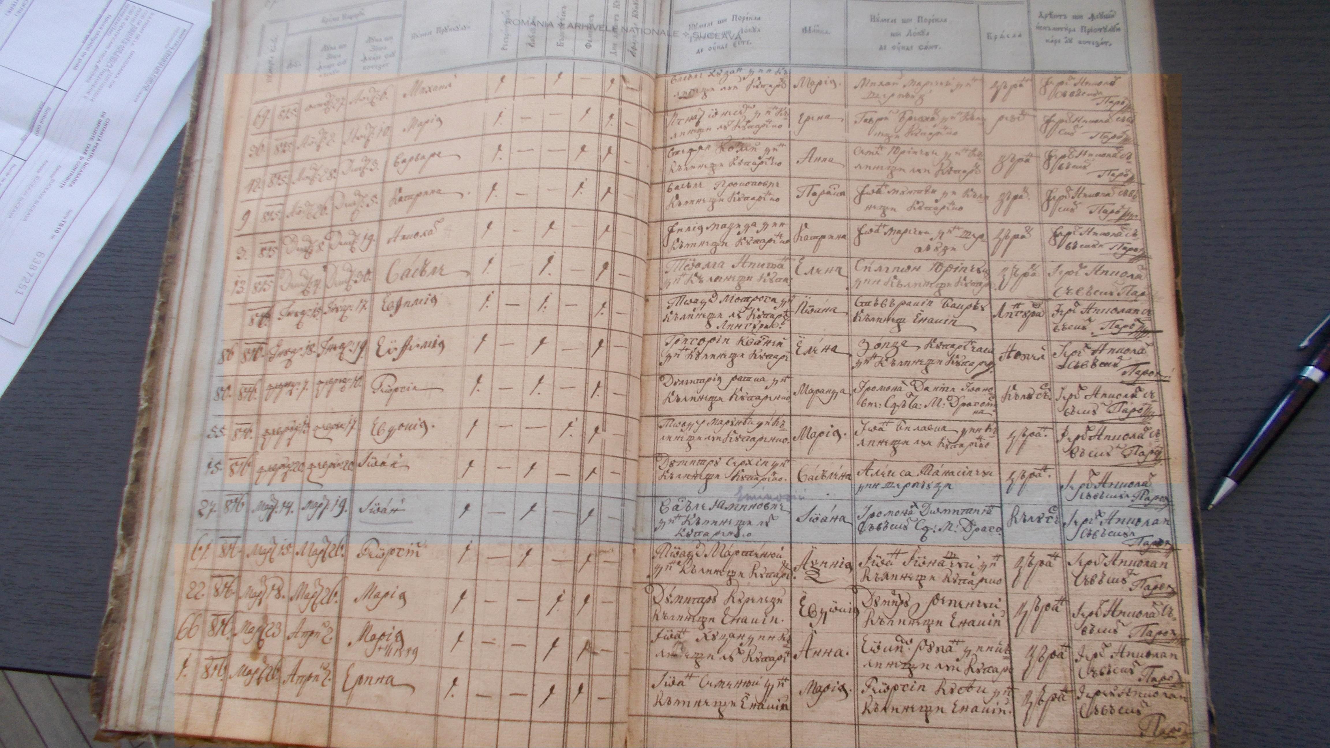 Pagina de condică parohială care consemnează naşterea lui Ioan Eminovici, singurul dintre cei trei fraţi, care rămâne în Călineşti