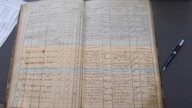 Pagina Condicii Parohiale din Călineştii lui Kuparenko, în care este înregistrată naşterea lui Ştefan Eminovici, fratele lui George Eminovici