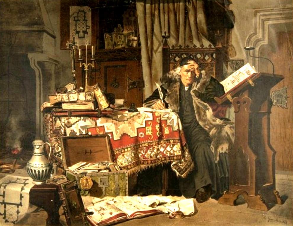 Cronicarul polon Jan Dlugosy, la masa de scris
