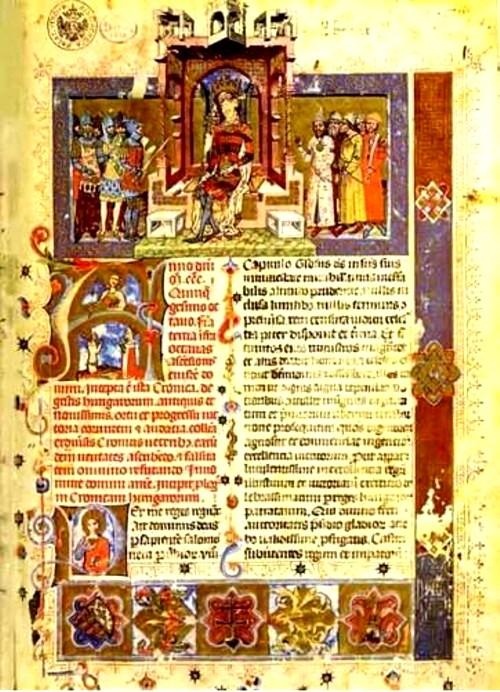"""Prima pagină din """"Chronicon Pictum"""""""