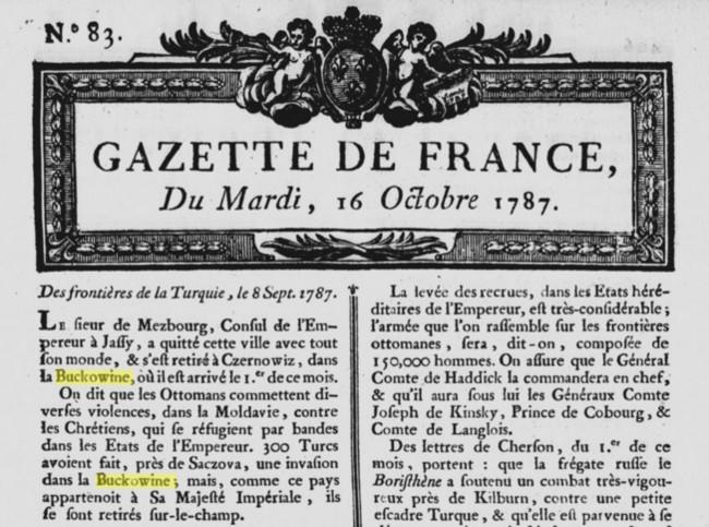 1787 Gazette de France