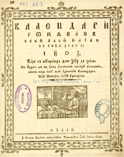 1803 Calendar coperta