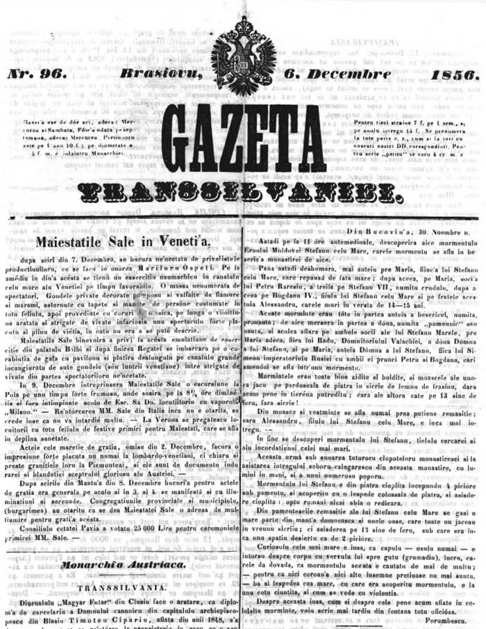 1856 Iraclie Porumbescu in Gazeta Transilvaniei