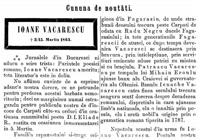 1863 Necrolog Vacarescu