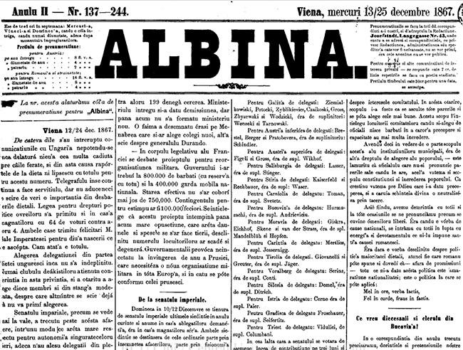 1867 Ce vor diecezanii ALBINA
