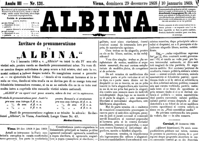 1868 Afaceri bisericesti ALBINA