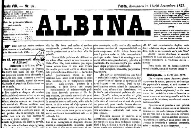 1873 Din dulcea noastra Bucovina ALBINA