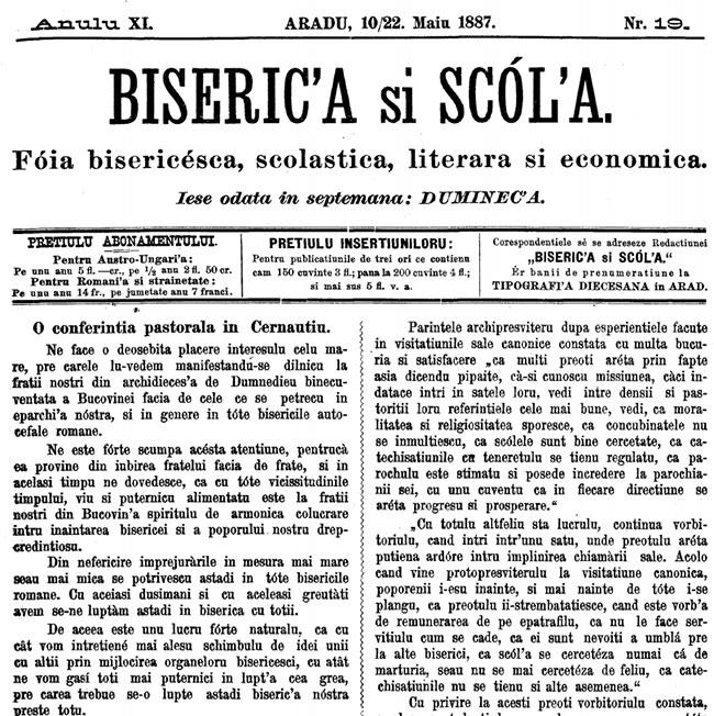 1887 O conferință pastorală la Cernăuți BISERICA ȘI ȘCOALA