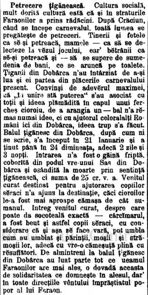 1899 Petrecere tiganeasca TRIBUNA 7 februarie