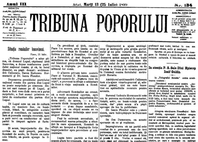 1899 Situatia romanilor bucovineni TRIBUNA POPORULUI