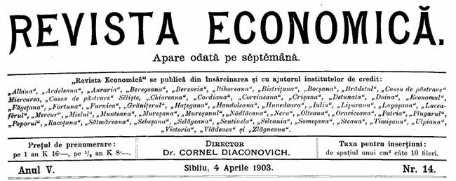 1903 Constituirea Centrale REVISTA ECONOMICĂ