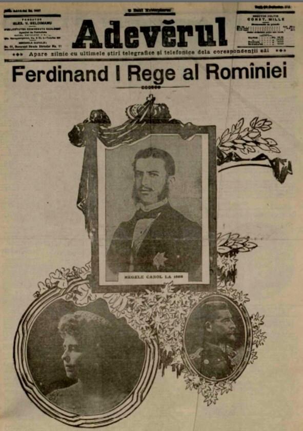 1914 Ferdinand 1 ADEVARUL 30 sept 1914