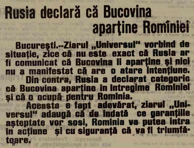 1914 OPINIA sept 7 Bucovina apartine Romaniei