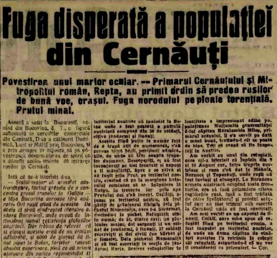 1914 aug 22 A Fuga din Cernauti 1