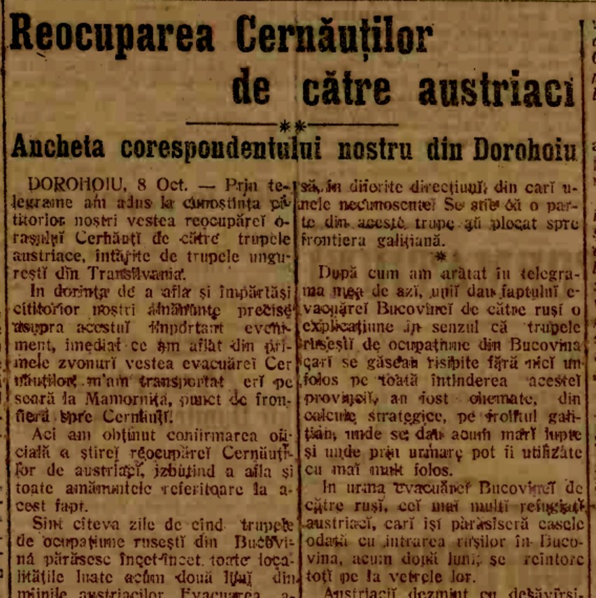 1914 oct 10 Reocuparea Cernautilor 1
