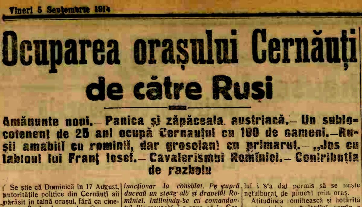 1914 sept 5 A Ocuparea Cernauti 1