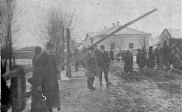 Vama austriacă din Iţcani, ocupată de ruşi; în stânga, un vameş austriac, refugiat în Regat
