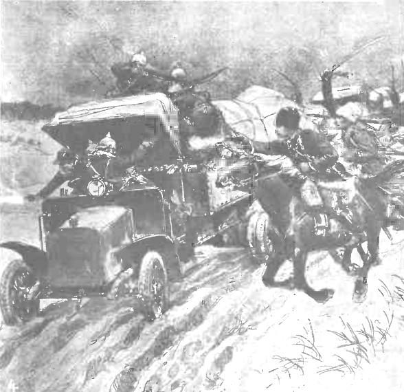 Automobil austriac, atacat de cazaci - Gazeta Ilustrată din 11 aprilie