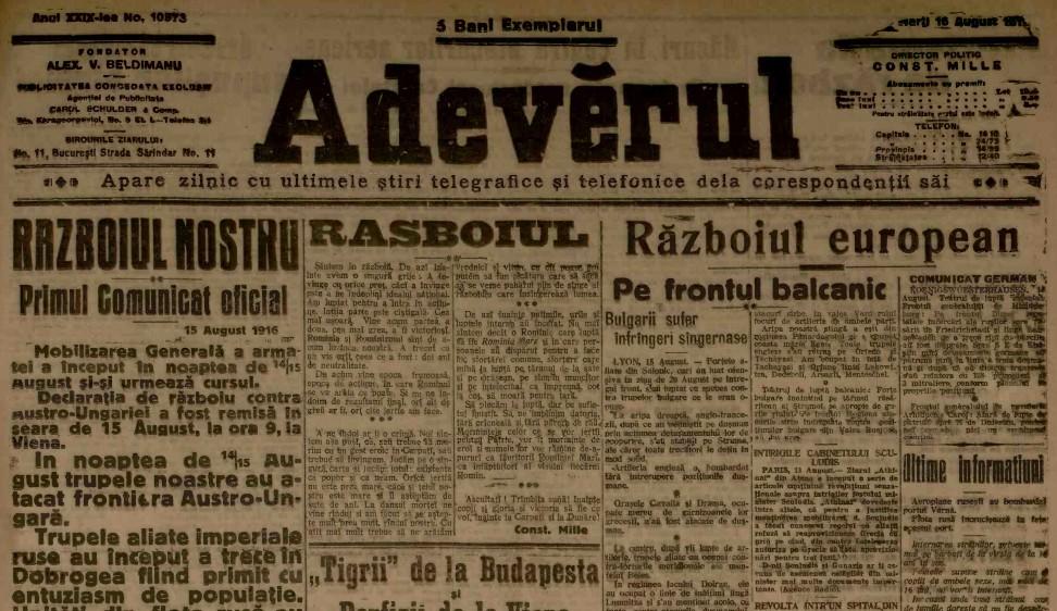 1916 august 16 ADEVARUL Primul comunicat oficial