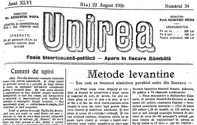 1936 Cum se incearca UNIREA