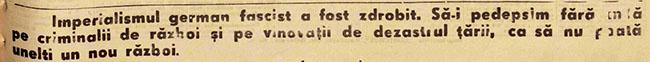 1945 Lozinca despre criminalii de război