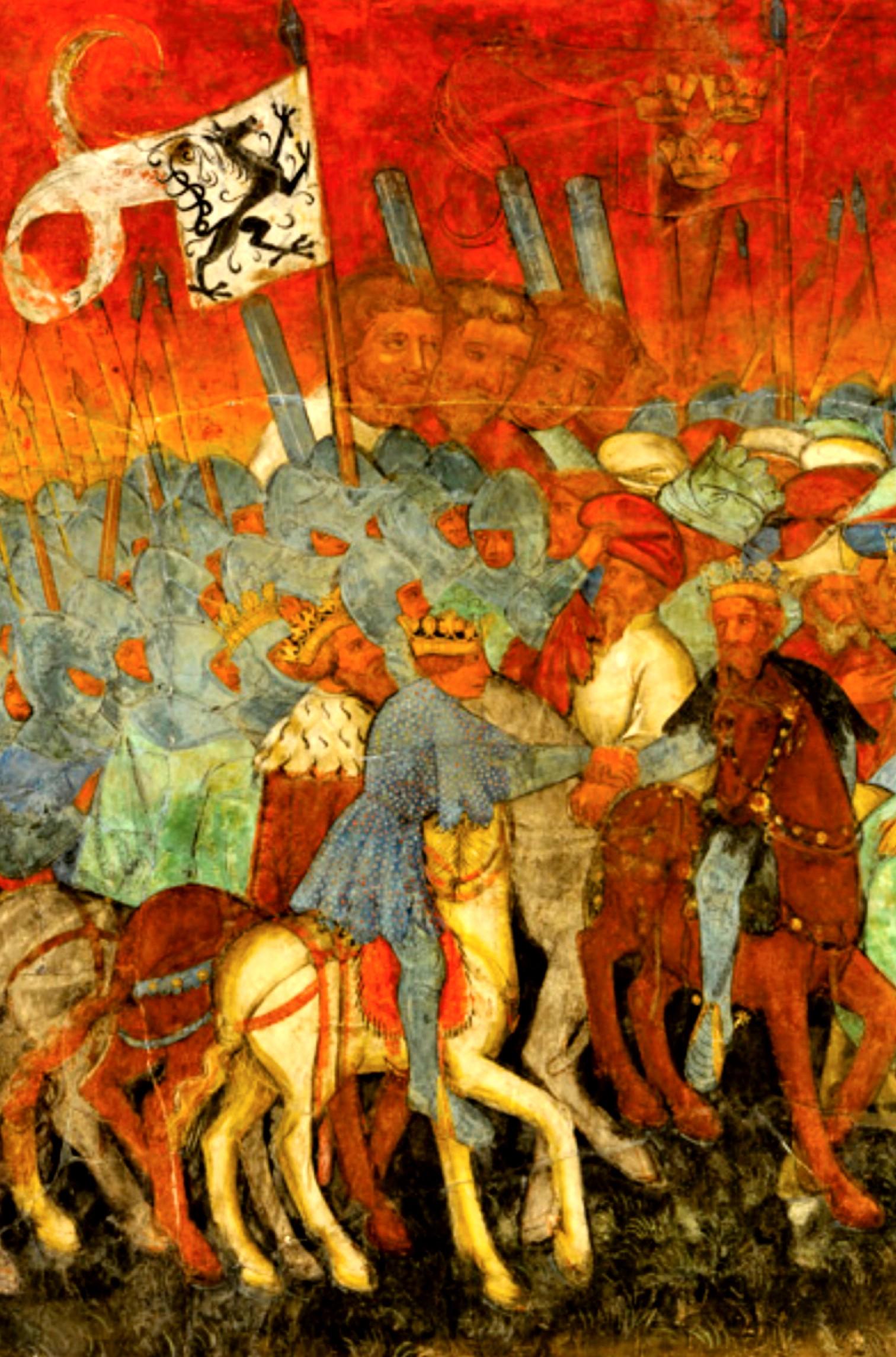 Trei Giganţi, pe o pictură murală din Castel Roncolo, Tirolul de Sud