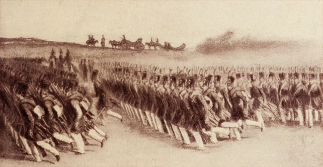 Infanteria română, defilând în pas alergător