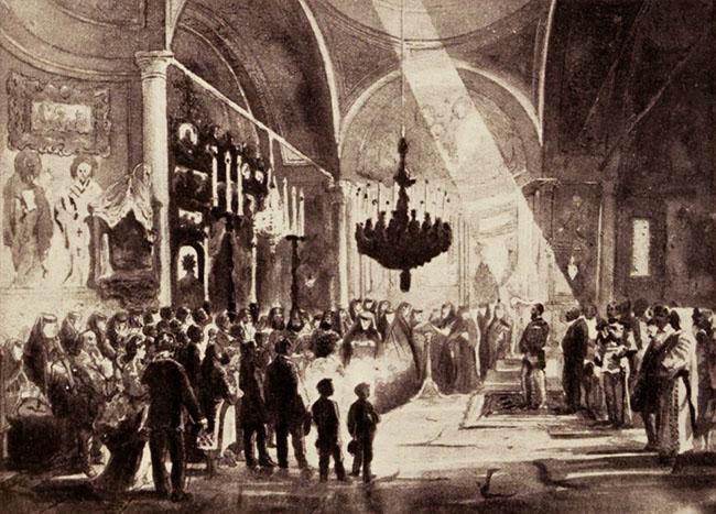 Regele Carol I, asistând la o ceremonie religioasă