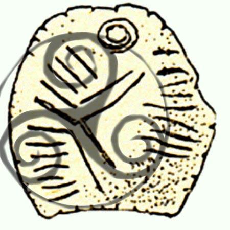 """Amuleta de la Mitoc, cu suprapunerea """"triunghiului celtic"""""""