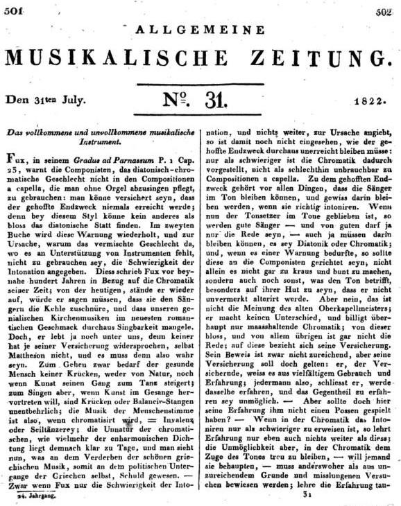 Allgemeine musikalische Zeitung coperta 1822