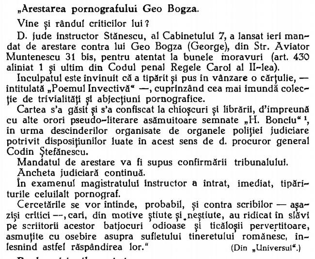 Arestarea lui Bogza
