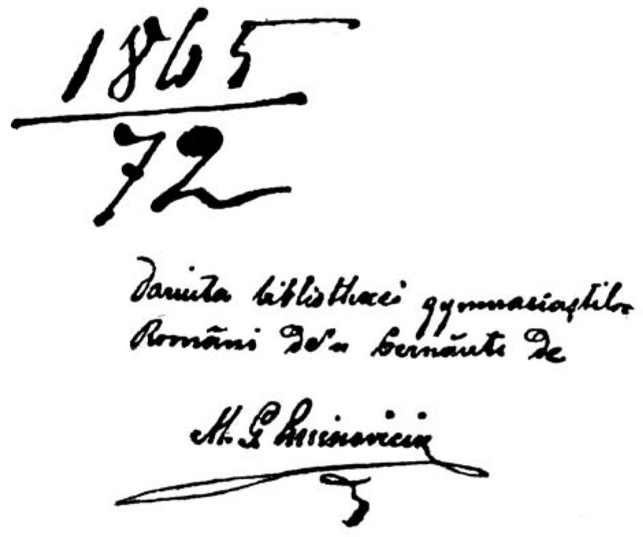 Autograf Eminescu pe o carte
