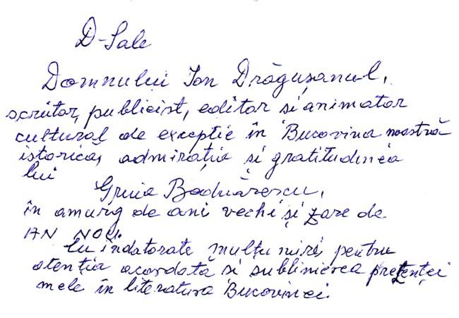 Autograf Gruia Bodnarescu