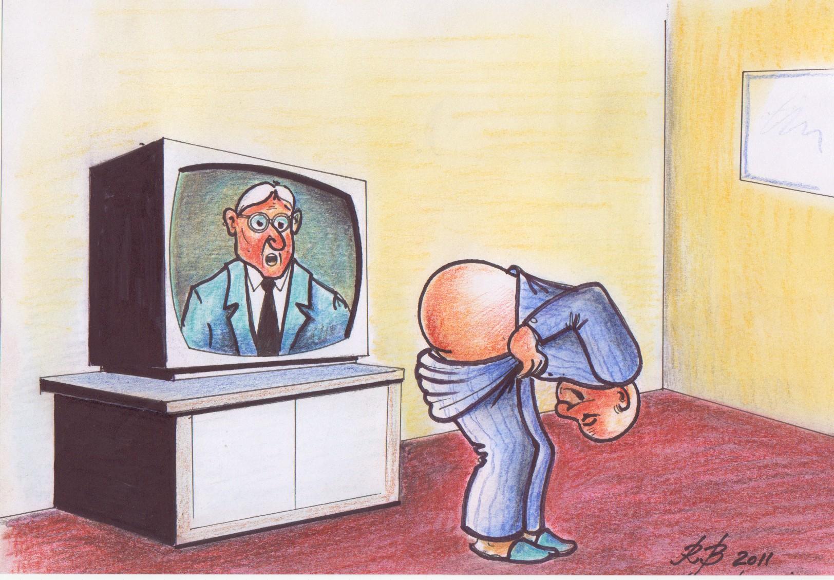Iar minţiţi poporul / cu televizorul - caricatură de Radu Bercea