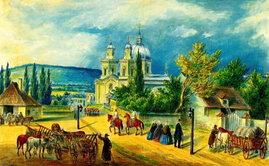Cernăuţi, biserica Sfânta Parascheva – acuarelă de Franz Xaver Knapp (1809-1883)