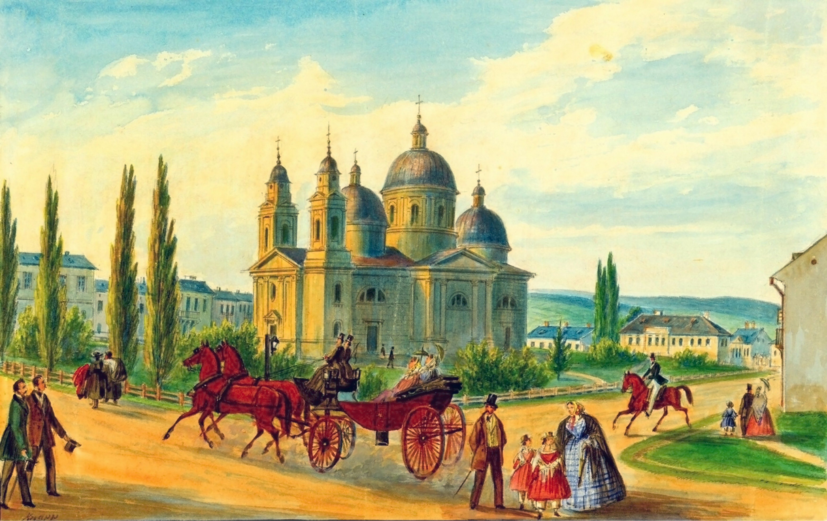 Cernăuţi, Văzuta Cernăuţilor – acuarelă de Franz Xaver Knapp (1809-1883)