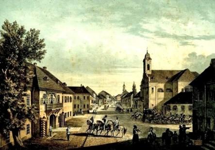 Cernăuţi, Uliţa Mare – acuarelă de Franz Xaver Knapp (1809-1883)