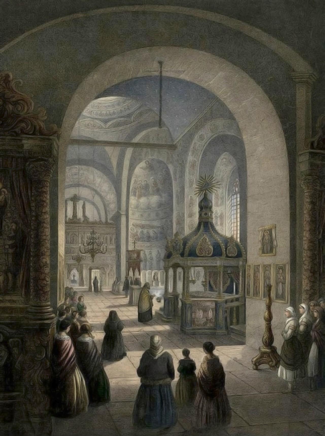 Cernăuţi, interiorul Bisericii Mitropolitane – acuarelă de Franz Xaver Knapp (1809-1883)