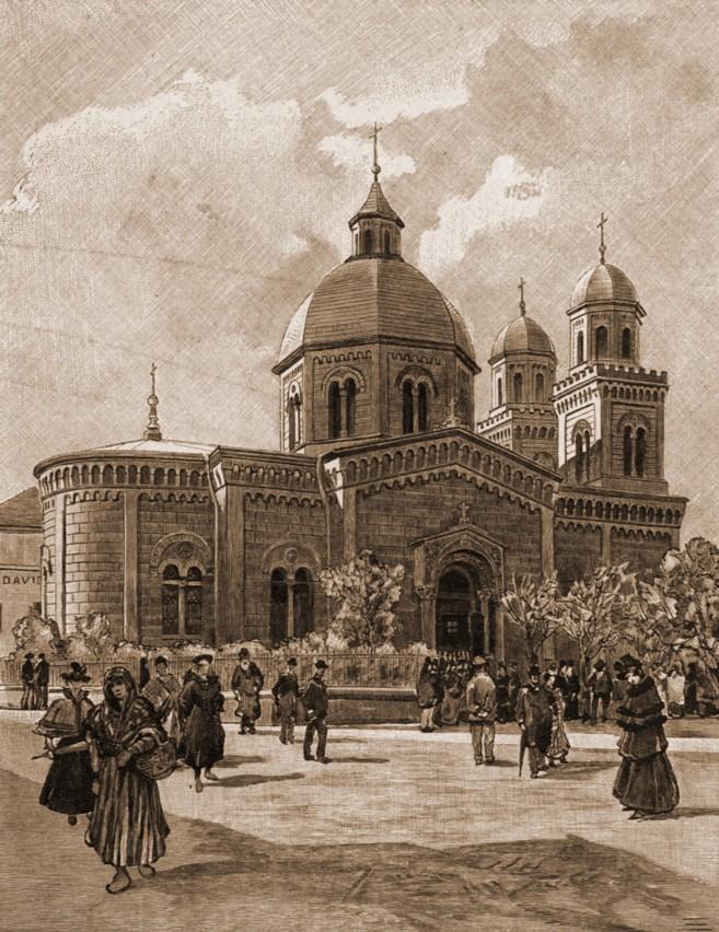 Cernăuţi, biserica Sfânta Parascheva – desen de Rudolf Bernt (1844-1914)