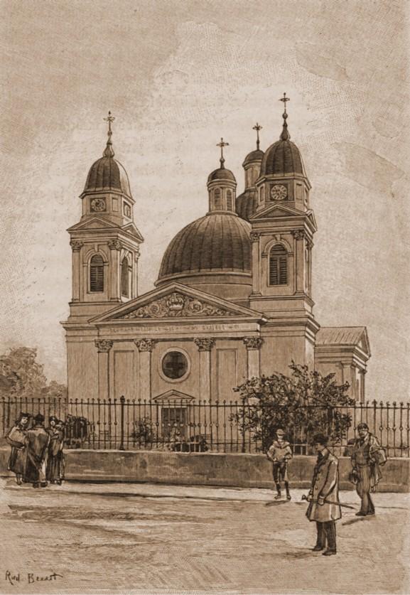 Cernăuţi, Catedrala ortodoxă – desen de Rudolf Bernt (1844-1914)