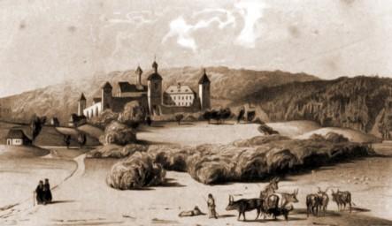 Dragomirna, mănăstirea, în 1832 – desen de I. Schubirsz