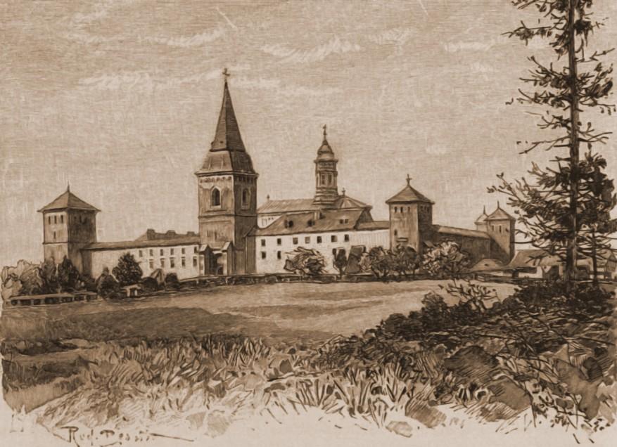 Dragomirna, mănăstirea – desen de Rudolf Bernt (1844-1914)