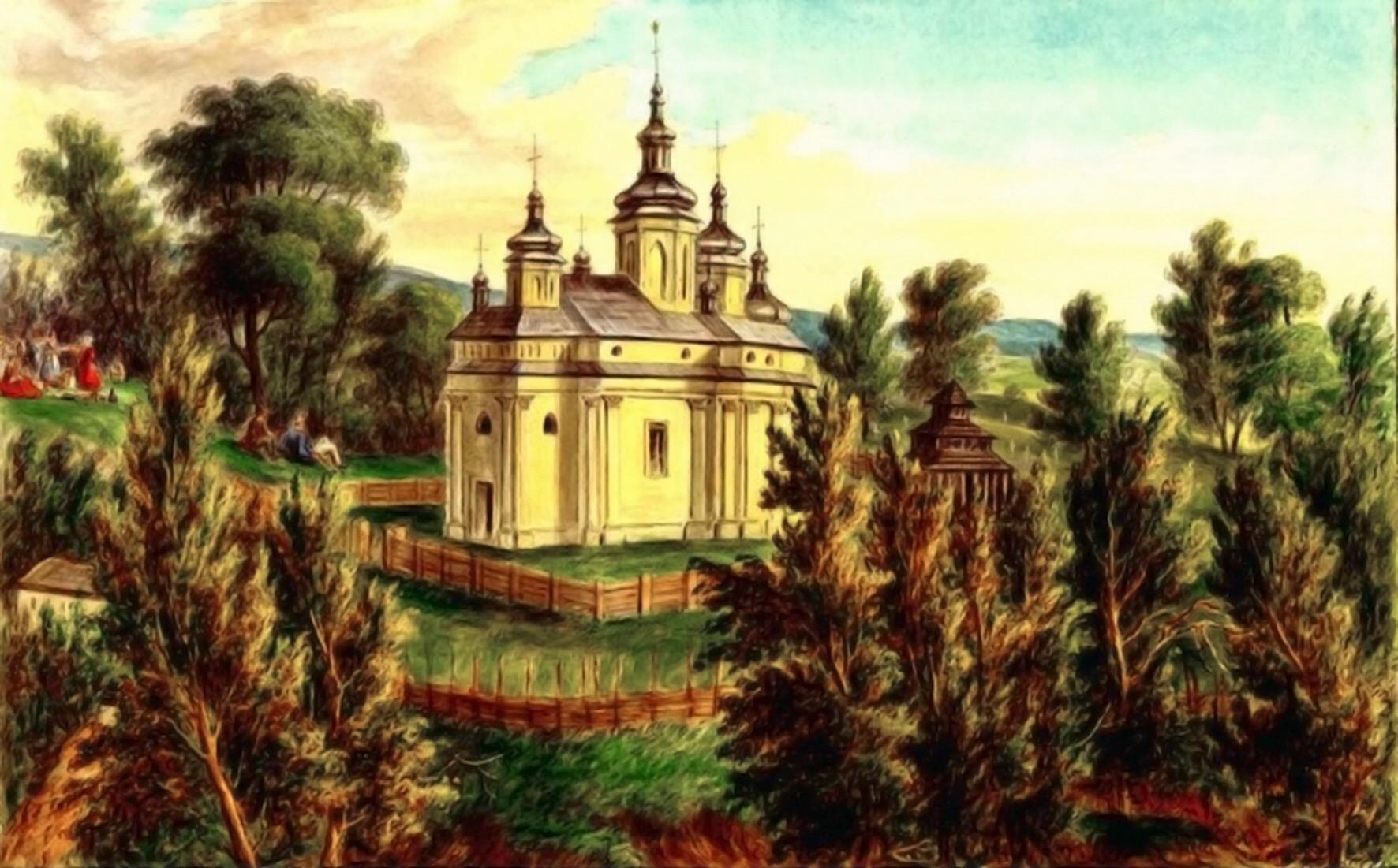 Horecea, mănăstirea în 1860 – acuarelă de Franz Xaver Knapp (1809-1883)