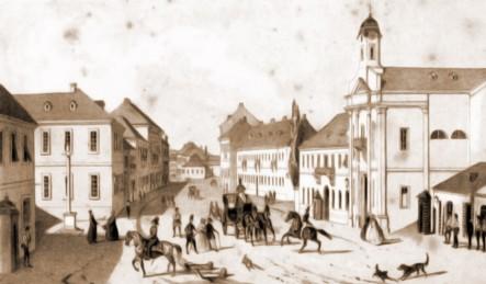 Cernăuţi, Piaţa Fântânii Albe, în 1832 – desen de I. Schubirsz