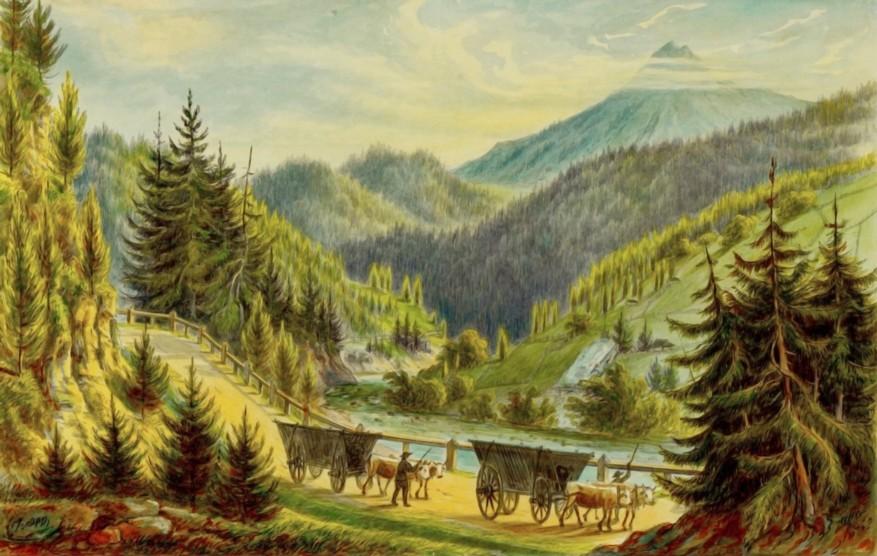 Iacobeni, şoseaua spre Dorna – de Franz Xaver Knapp