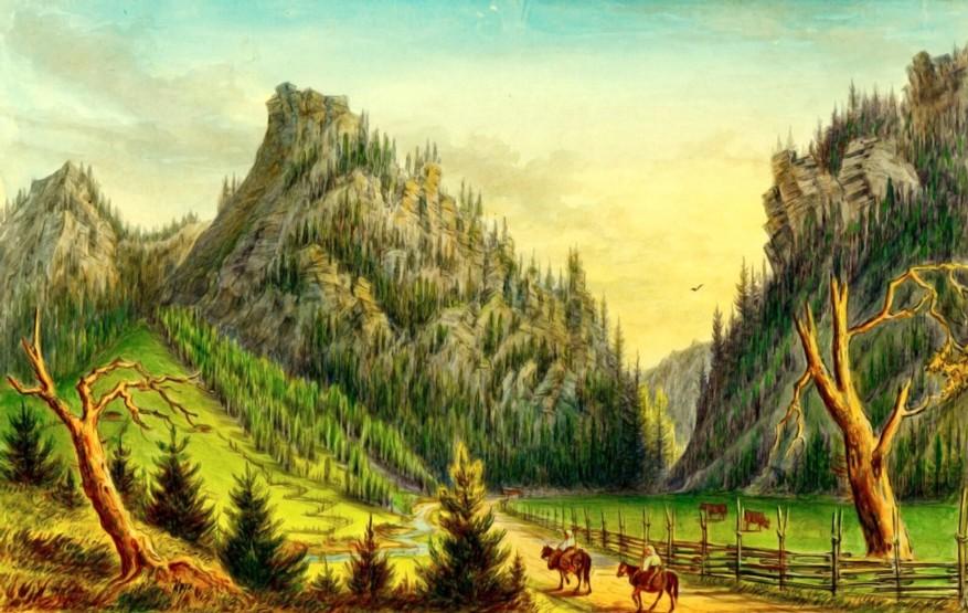 Lucava, Valea Lucavei – acuarelă de Franz Xaver Knapp (1809-1883)