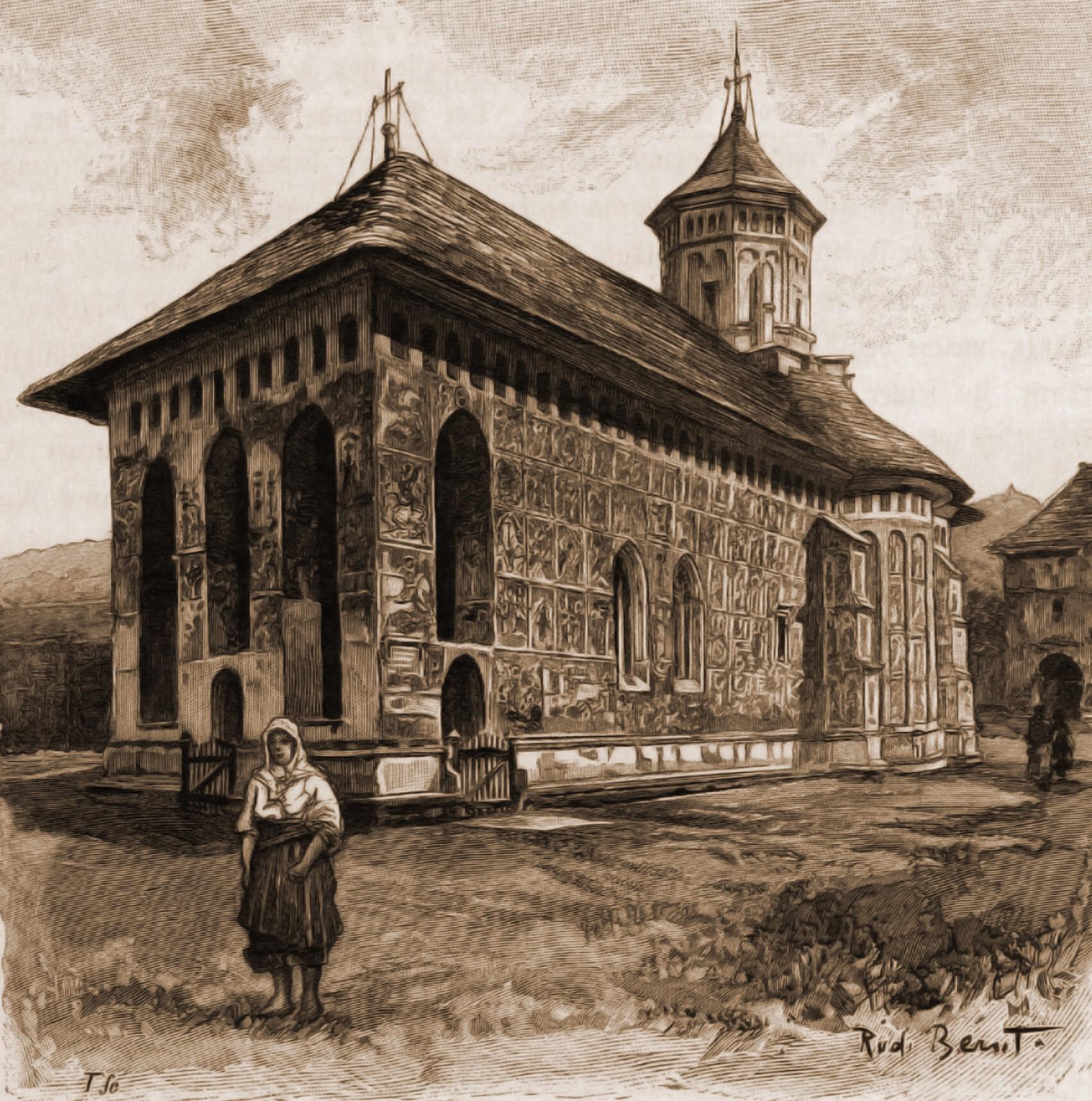 Moldoviţa, biserica mănăstirii – desen de Rudolf Bernt (1844-1914)